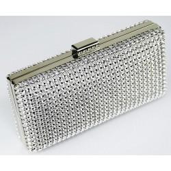 Dámské luxusní psaníčko zdobené kamínky stříbrné