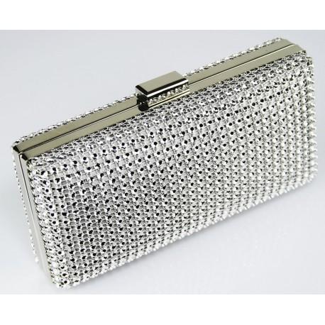 Dámské luxusní psaníčko zdobené kamínky stříbrné , Barva Stříbrná L&S Fashion LSE29