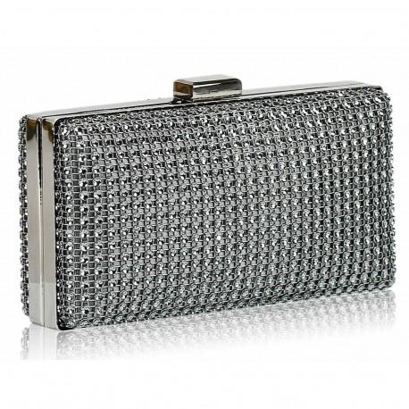 Dámské luxusní psaníčko zdobené kamínky šedé, Barva Šedá L&S Fashion LSE29