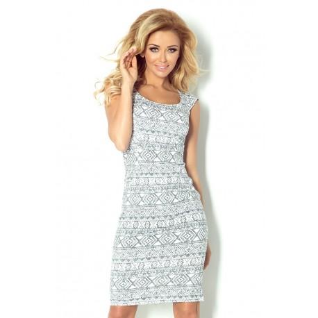 Dámské šaty casual vzorované bílo - šedé