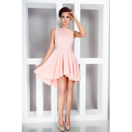 Dámské asymetrické šaty Lacosta - Exclusive bez rukávu broskvové, Velikost L, Barva Broskvová NMC 33-1