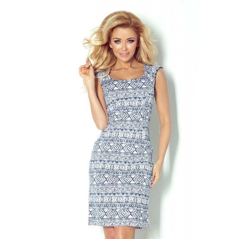 Dámské šaty casual vzorované modro - bílé, Velikost L, Barva Modro - bílá