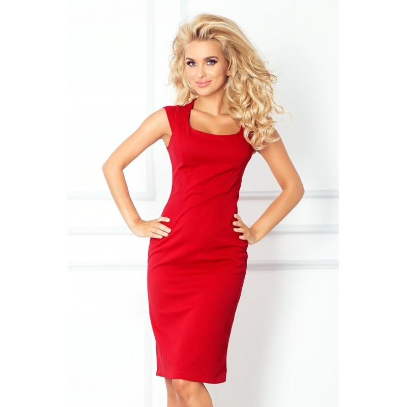 Dámské elegantní společenské šaty bez rukávu červené, Velikost XL, Barva Červená
