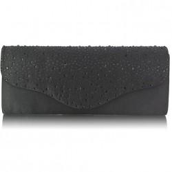 Dámské elegantní psaníčko zdobené kamínky černé