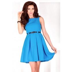 Dámské elegantní společenské šaty bez rukávu s páskem modré