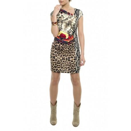 Dámské moderní vzorované šaty bez rukávu AMAZONA béžové, Velikost M, Barva Barevná, Vzor K