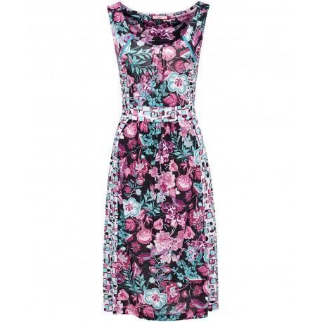 Dámské stylové květinové a vzorované šaty JERSEY bez rukávu, Velikost XL, Barva Barevná, Vzor Květinový Joe Browns