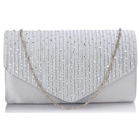 Dámské elegantní psaníčko zdobené kamínky stříbrné