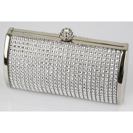 Dámské luxusní zdobené psaníčko zdobené perličkami stříbrné