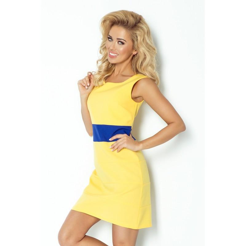 Dámské trendy šaty bez rukávu žluté s modrým pruhem, Velikost M, Barva Žlutá