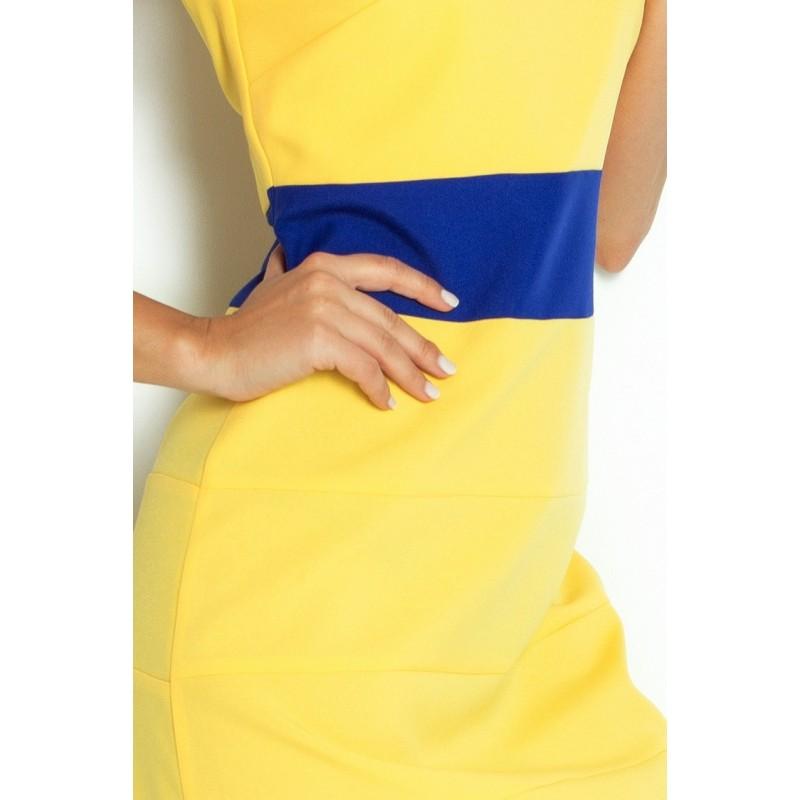 9652ddc72 Dámské trendy šaty bez rukávu žluté s modrým pruhem - Alltex-fashion.cz