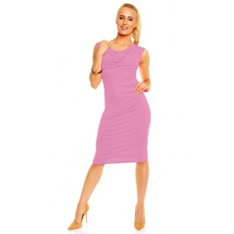Dámské společenské šaty bez rukávu Izabela pudrové, Velikost XL, Barva Pudrová Lental