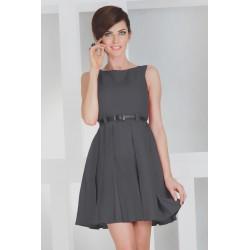 Dámské elegantní společenské šaty bez rukávu s páskem tmavě šedé