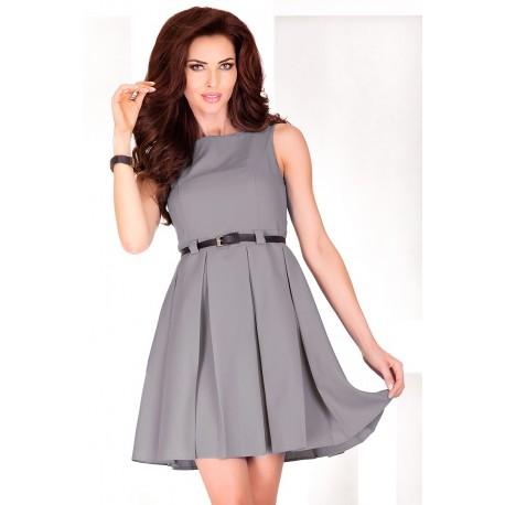 Dámské elegantní společenské šaty bez rukávu s páskem šedé