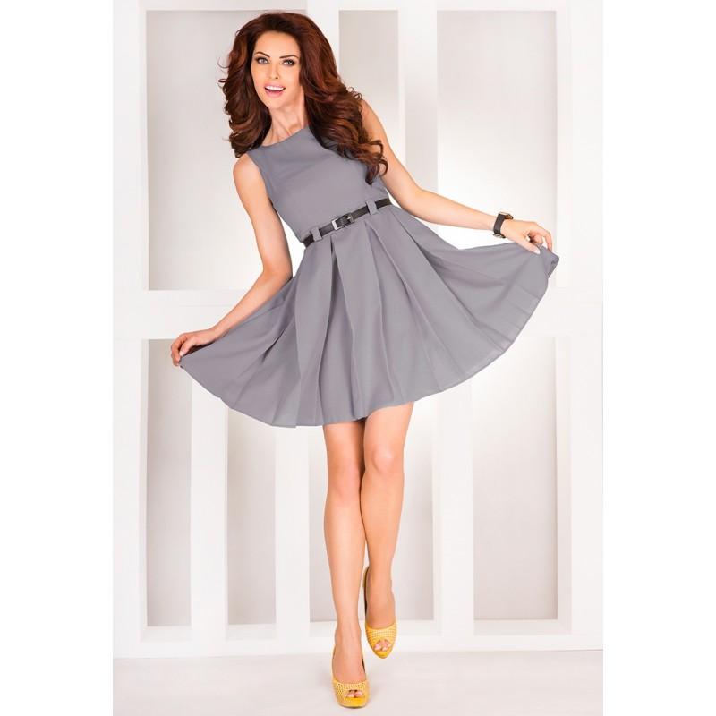 Dámské elegantní společenské šaty bez rukávu s páskem šedé - Alltex ... 903a9aac8e