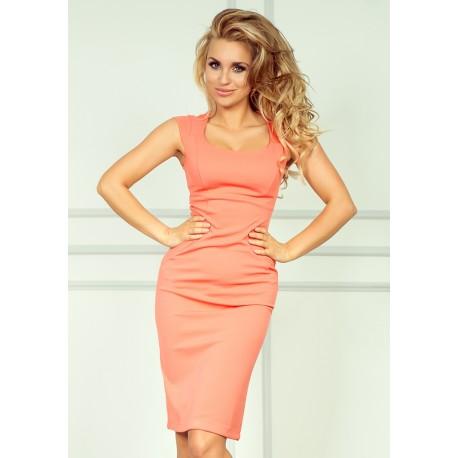 Dámské elegantní společenské šaty bez rukávu růžové