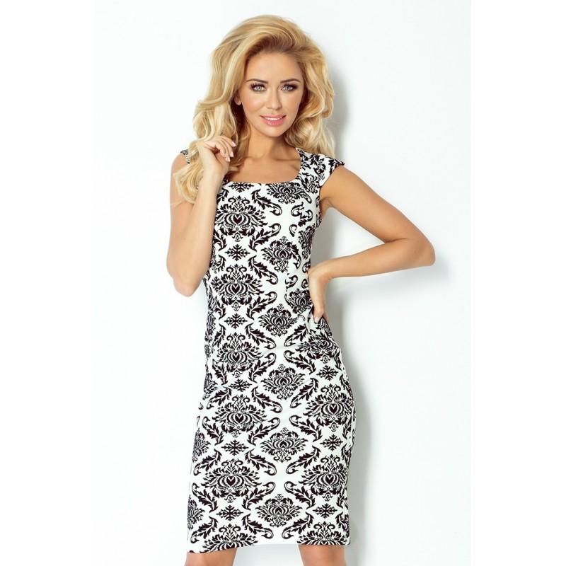 Dámské elegantní společenské šaty bez rukávu vzorované, Velikost S, Barva Černo - bílá