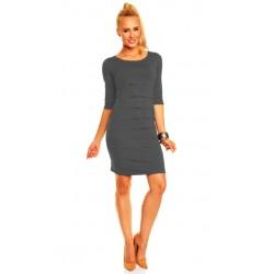Dámské společenské šaty Brygida s 3/4 rukávem tmavě šedé