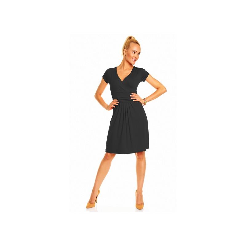 Dámské společenské šaty s krátkým rukávem Nikola černé, Velikost M, Barva Černá