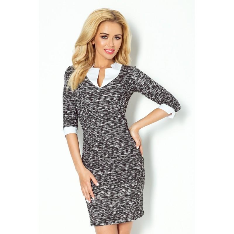 Dámské společenské šaty a business casual šaty s 3/4 rukávem černo-bílé, Velikost M, Barva Černo - bílá