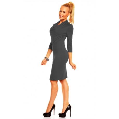 Dámské společenské šaty Monika s 3/4 rukávem tmavě šedé