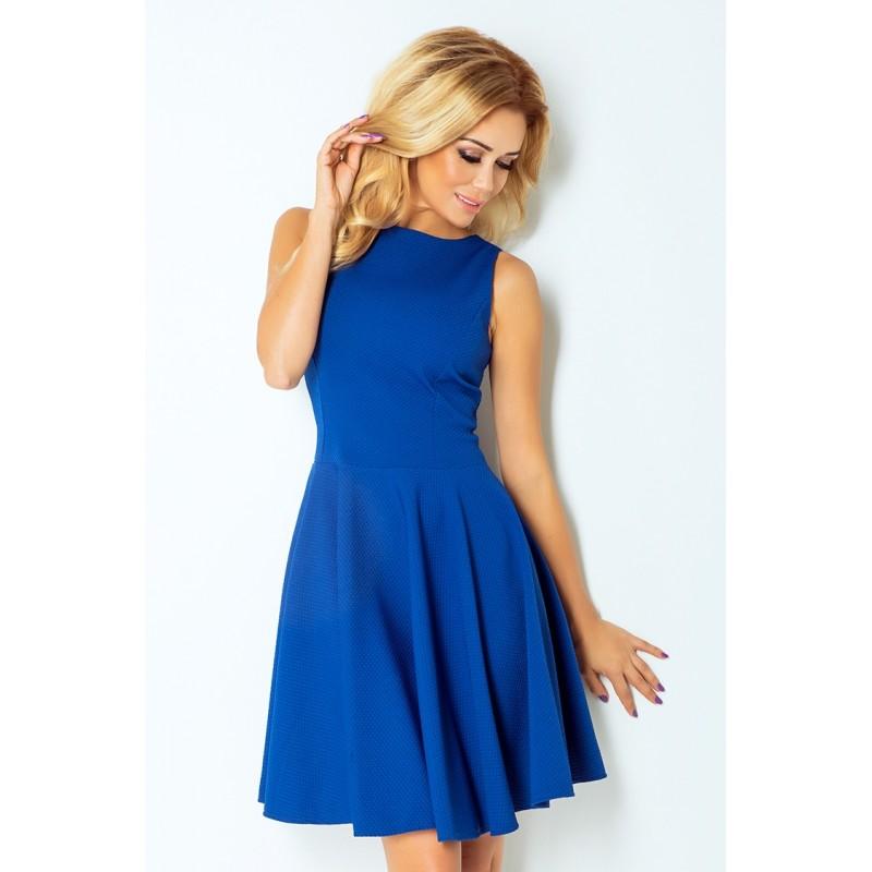 Dámské elegantní šaty bez rukávu modré, Velikost L, Barva Modrá