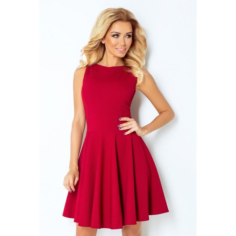 Dámské elegantní šaty bez rukávu vínové, Velikost L, Barva Vínová