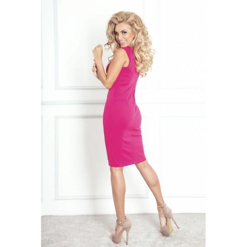 f6de0a6405c Dámské elegantní společenské šaty bez rukávu malinové