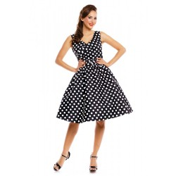 Dámské retro šaty Dolly and Dotty Polka Swing May černé