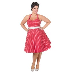 Dámské retro šaty Dolly and Dotty Cirle Red White Polka