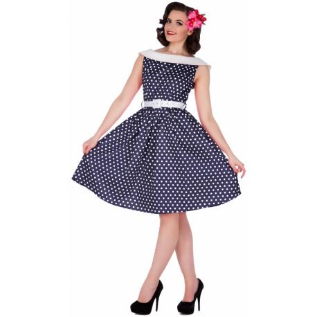 Dámské retro šaty Dolly and Dotty Sassy tmavě modré, Velikost 38, Barva Tmavě modrá Dolly and Dotty S751SL