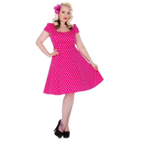 Dámské retro šaty Dolly and Dotty Claudia růžové, Velikost 44, Barva Růžová Dolly and Dotty 1695H