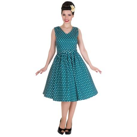 Dámské retro šaty Dolly and Dotty Wendy petrolejové s bílou c02773a1b55