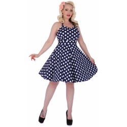 Dámské retro šaty Dolly and Dotty Sylvia tmavě modré s bílou