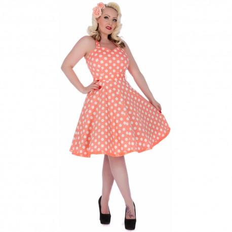 Dámské retro šaty Dolly and Dotty Sylvia broskvové s bílou