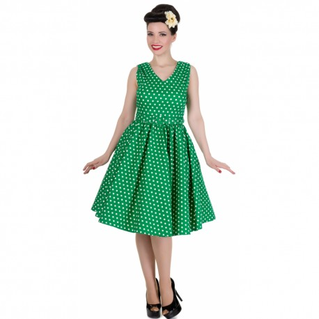 Dámské retro šaty Dolly and Dotty Wendy zelené s bílou b73af3db654