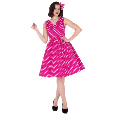 Dámské retro šaty Dolly and Dotty Wendy růžové s bílou