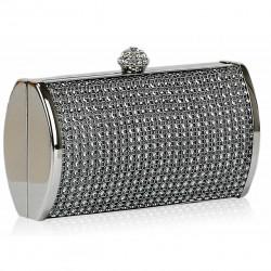 Dámské luxusní psaníčko zdobené kamínky šedé