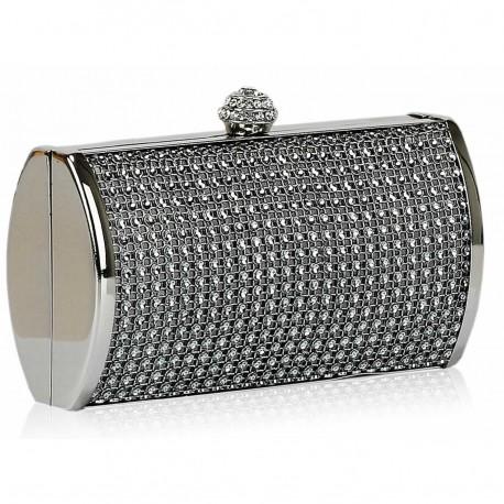 Dámské luxusní psaníčko zdobené kamínky šedé, Barva Šedá L&S Fashion LSE081