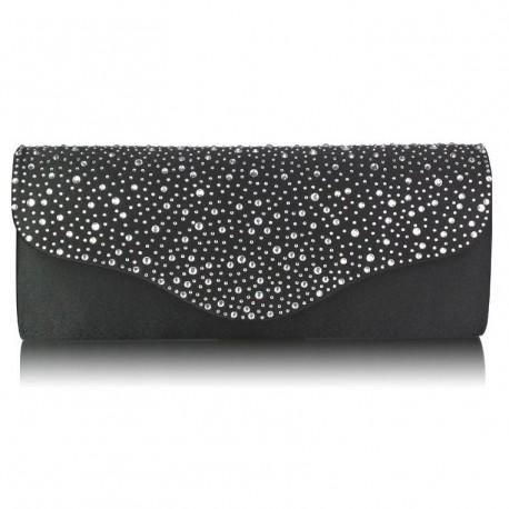 Dámské elegantní psaníčko zdobené kamínky černé, Barva Černá L&S Fashion LS253BS