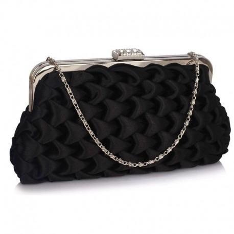 Dámské luxusní psaníčko Vintage černé, Barva Černá L&S Fashion LSE321