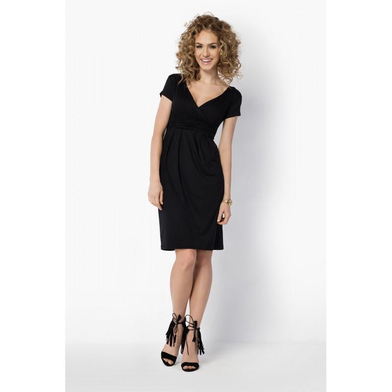 Dámské elegantní šaty s krátkým rukávem černé, Velikost L, Barva Černá