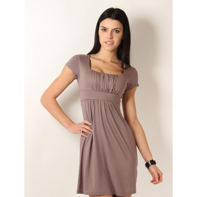Dámské společenské šaty s krátkým rukávem kapučínové, Velikost M, Barva Kapučínová