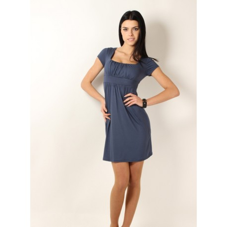 Dámské společenské šaty s krátkým rukávem petrolejové, Velikost L, Barva Petrolejová Makadamia BY8944
