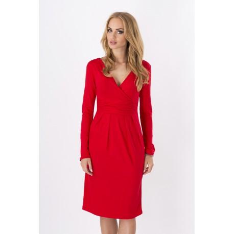 """Dámské šaty s 3/4 rukávem a výstřihem ve tvaru """"V"""" červené"""