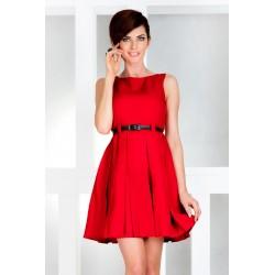 Dámské elegantní šaty bez rukávu s páskem červené