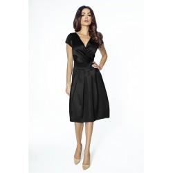 Luxusní dámské šaty s výstřihem do V černé 209