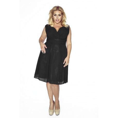 Krásné dámské šaty šifonové bez rukávu černé 1171, Velikost 48, Barva Černá Kartes KM117-1PS