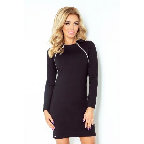 Dámské šaty s dlouhým rukávem černé 130-3, Velikost M, Barva Černá NUMOCO 130-3