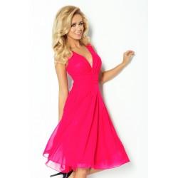 Krásné dámské šaty šifonové bez rukávu růžové SF357